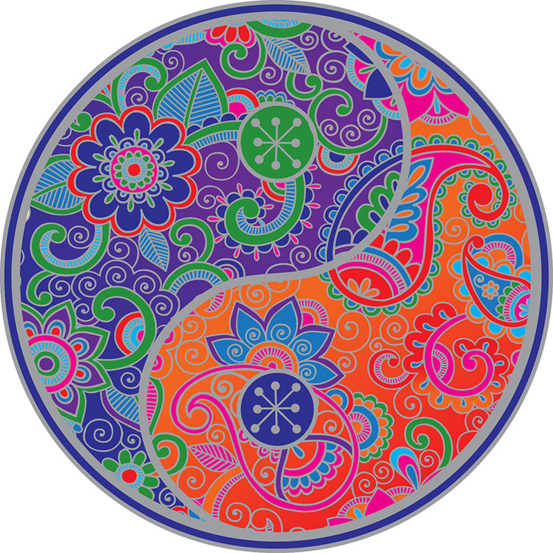 Raamsticker Ying Yang kleurrijk