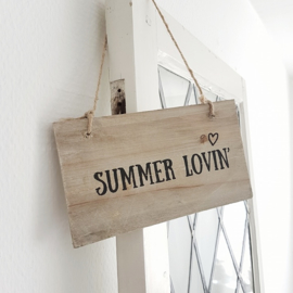Houten tekstbordje 'Summer Lovin' kleur naturel