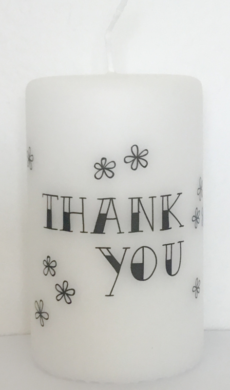 Witte stompkaars 'Thank You'