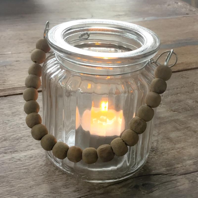 Waxinelichthouder houten kraal