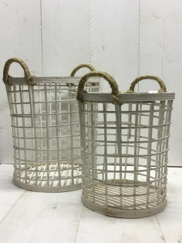 Mooi set bamboe manden, wit!