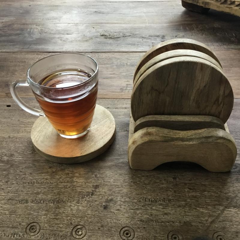 Set broodplank van hout (rond)
