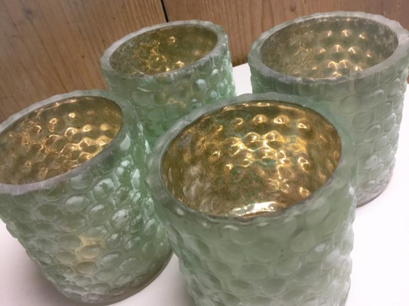 Glazen waxinelichtje in de kleur groen van Countryfield