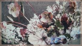 Kussen fluweel 60 x 40 cm | Bloemen purple