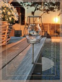 Klem tuinlantaarn/windlicht bruin