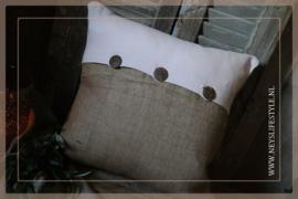Kussenhoes jute met knopen | 45 x 45 cm