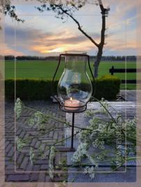 Klem tuinlantaarn/windlicht zwart