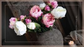 Pioenroos kunst | roze 79 cm