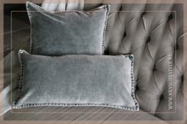 Velvet kussen washed Pip 30 x 60 cm | grijs