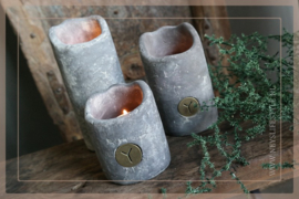 Set candlecup holder vintage | grey