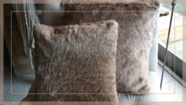 Kussen Bont 55x55 chocolate | fake fur