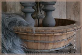 Oude houten ronde trog/bak licht | 2