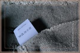Plaid linnen streep/kwast | beige bruin