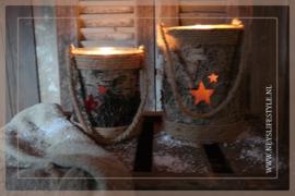 Windlicht wood Stars | M