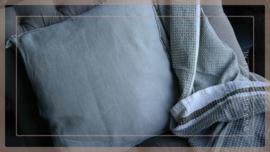 Kussen linnen 45 x 45 cm | grijs/groen