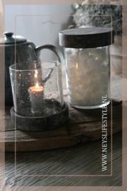Pot/windlicht met houten deksel | S