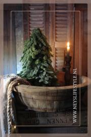 Oude houten ronde trog/bak licht | 1
