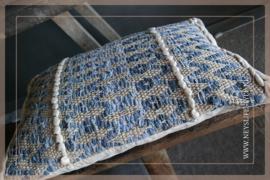 Kussen zigzag | bruin blauw