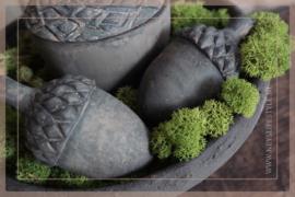 Set van 2 dennenappels aardewerk   grey XS