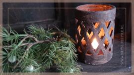 Cylinder windlicht cross   old brown M