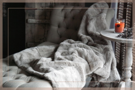 Luxe bont plaid 170 x 130 cm grijs