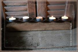 Kandelaar waxine 5 pc   wood