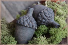 Set van 2 dennenappels aardewerk | grey XS
