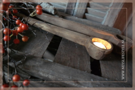 Oude houten lepel 40 cm
