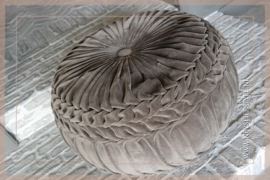 Velvet pouf dark brown