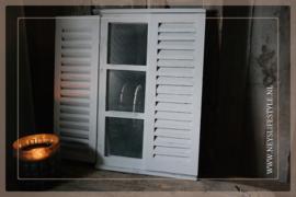 Spiegel louvre deur   whitewash