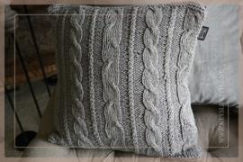 Kussen gebreid 45 x 45 cm | grijs