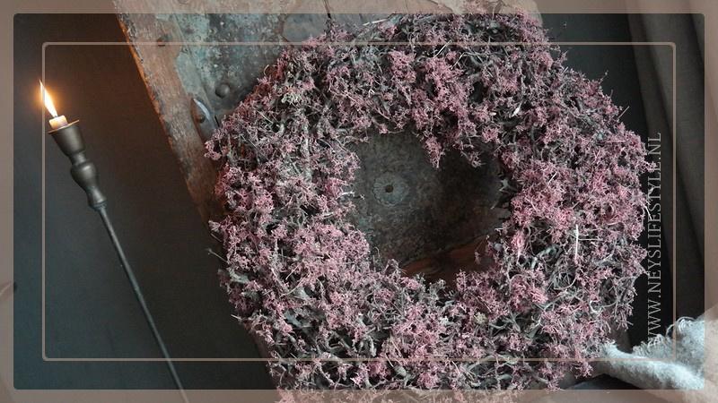 Krans Bonsai mos 60 cm | pink