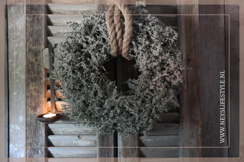 Wax krans Asparagus olive 25-30 cm