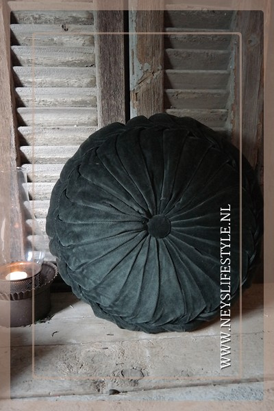 Velvet kussen dark green | 40 cm