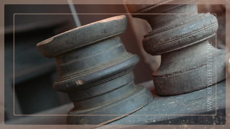 Klos kandelaar oud | hout