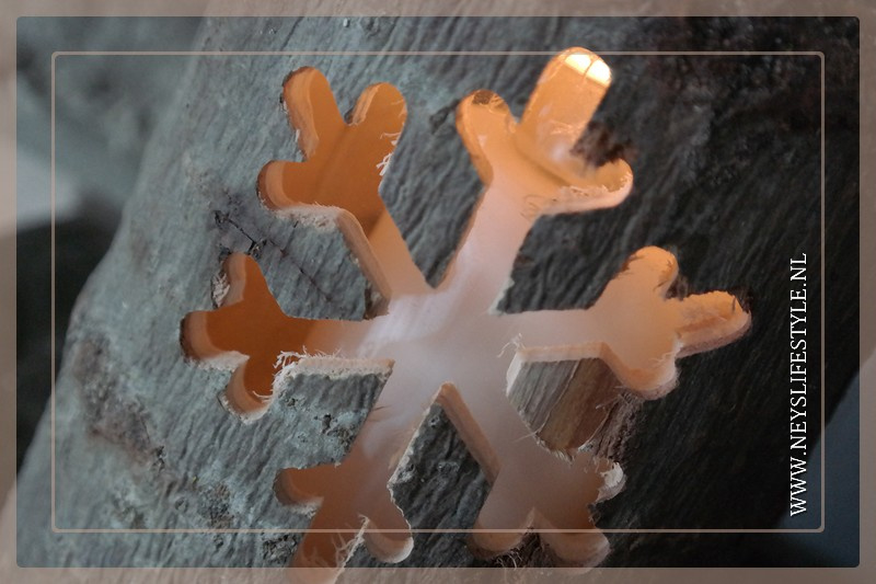 Lantaarn hout    Snowflake