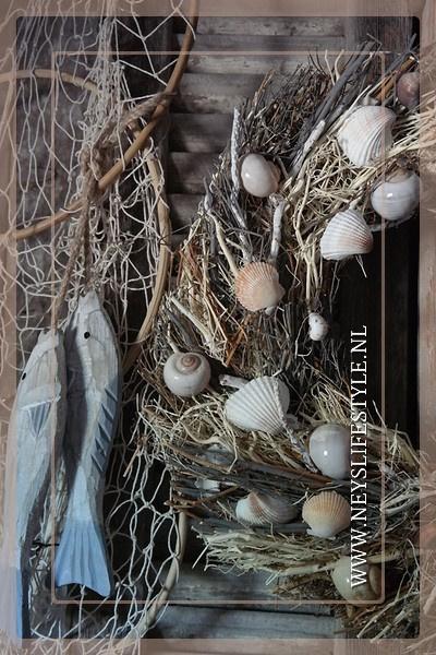 Krans Schelpen Bali naturel | 44 cm