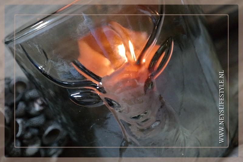 Windlicht glas Rendier | S