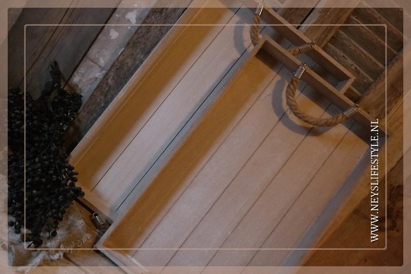 Dienblad met touw whitewash | S