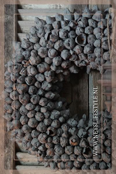 Krans coco fruit   grey   45 cm
