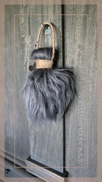 Toef schapenwol   grijs/bruin