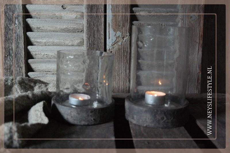 Pot/windlicht met houten deksel | M