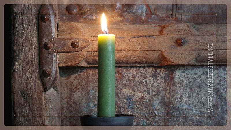 Diner kaarsen laag | groen mat