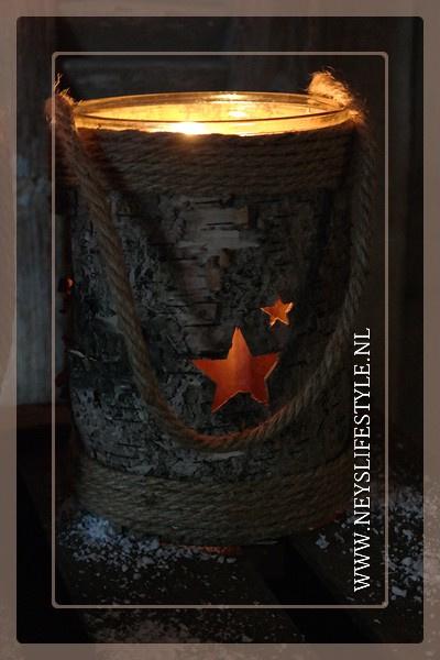 Windlicht wood Stars   M