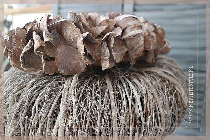 Krans Palm Petal   Whitewash   25cm