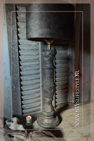 Tafellamp Don met kap | old brown