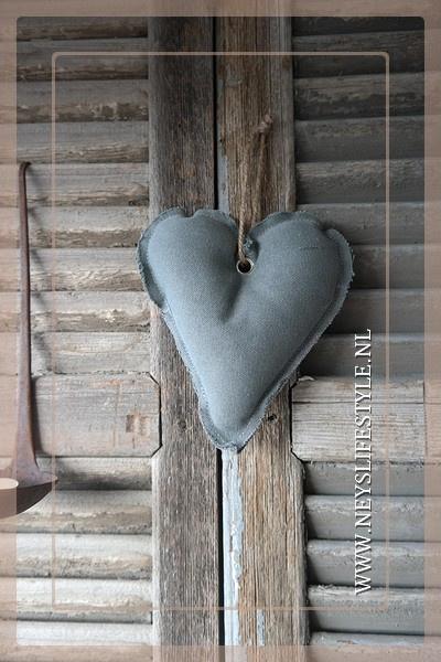 Hart hanger linnen | grijs S