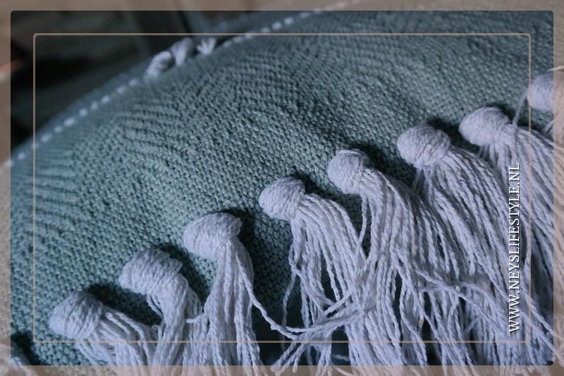 Kussen linnen bol/kwast | mint groen