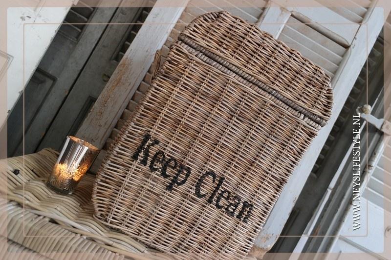 Prullenbak 'Keep clean' met klep rotan
