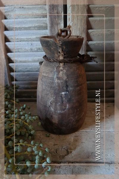 Oude Nepalese kruik met deksel | 2
